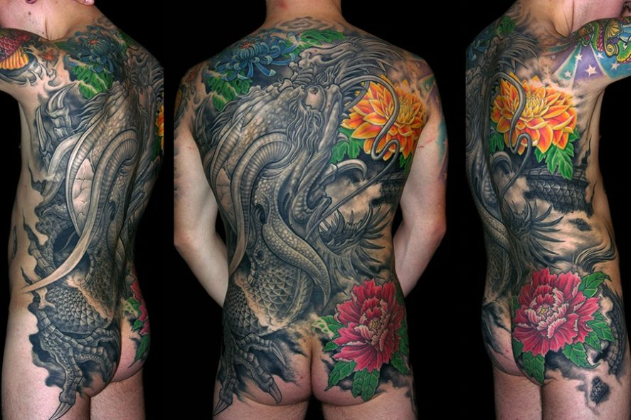 japanese tattoo back piece dragon