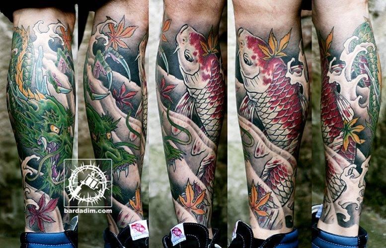 Japanese Tattoo. Leg Sleeve Tattoo