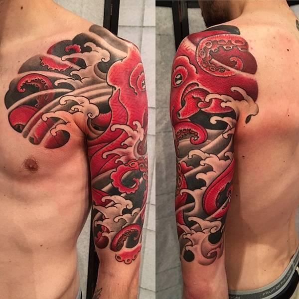 Japanese half sleeve. Octopus tattoo