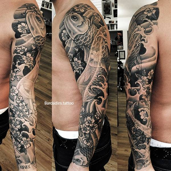 Koi Fish Japanese Tattoo Black And Grey Full Sleeve Brooklyn