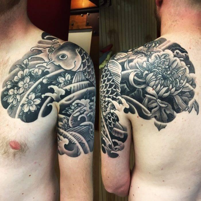 Koi fish tattoo. japanese tattoo. half sleeve