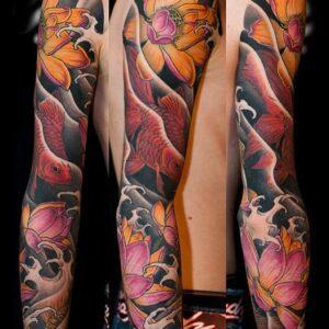 Tattoo Aftercare Instruction. Goldfishes Japanese tattoo