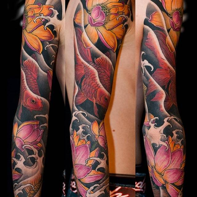 Tattoo Aftercare Instruction. Goldfishes Japanese tattoo