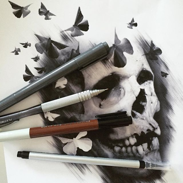 Skull and butterflies Tattoo Design