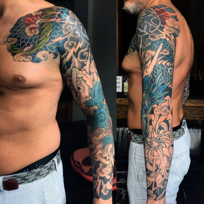 Color Dragon Japanese Tattoo