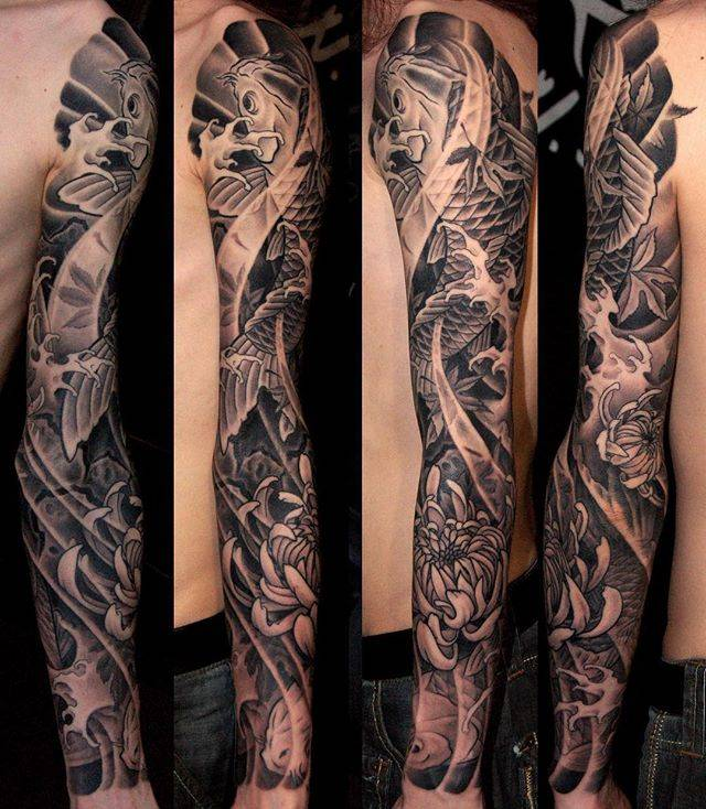 Japanese Flower Tattoos. Koi fish tattoo sleeve