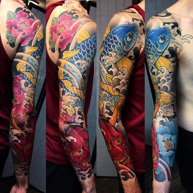 Japanese Koi Sleeve Tattoo By Bardadim Tattoo Artist Based