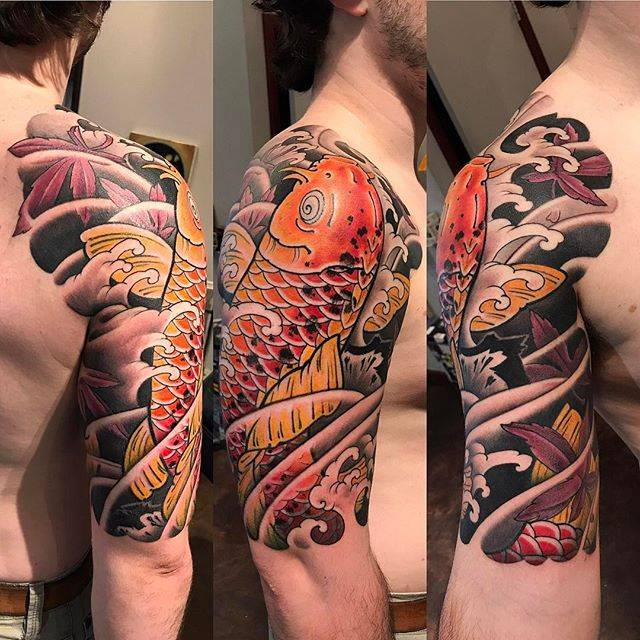 Japanese Koi Half Sleeve Tattoo Bardadim Tattoo Brooklyn Nyc