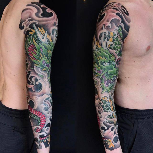 Japanese Tattoo. Dragon Full Sleeve