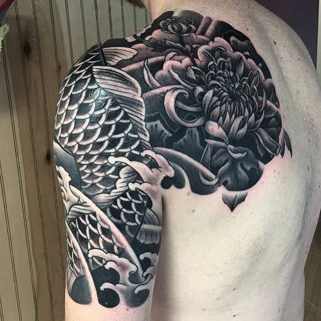 Black koi and chrysanthemum japanese tattoo by george for Black koi fish meaning