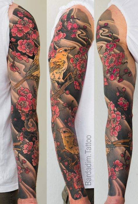 Japanese Sleeve Tattoo. Bird and Plum.