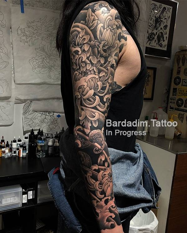 Black And Grey Japanese Sleeve In Progress By George Bardadim