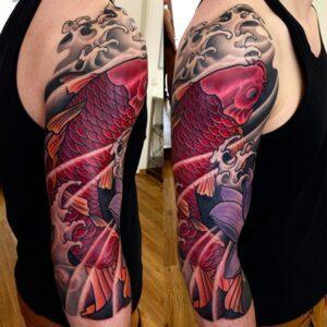 Koi Fish Half Sleeve Tattoos Black and Grey