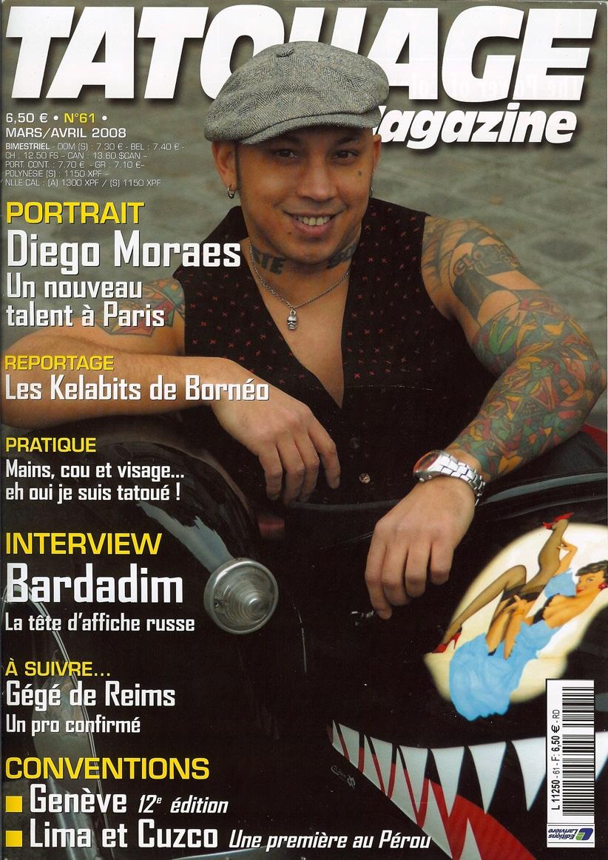 Tatouage Magazine # 61, April 2008. France.Cover